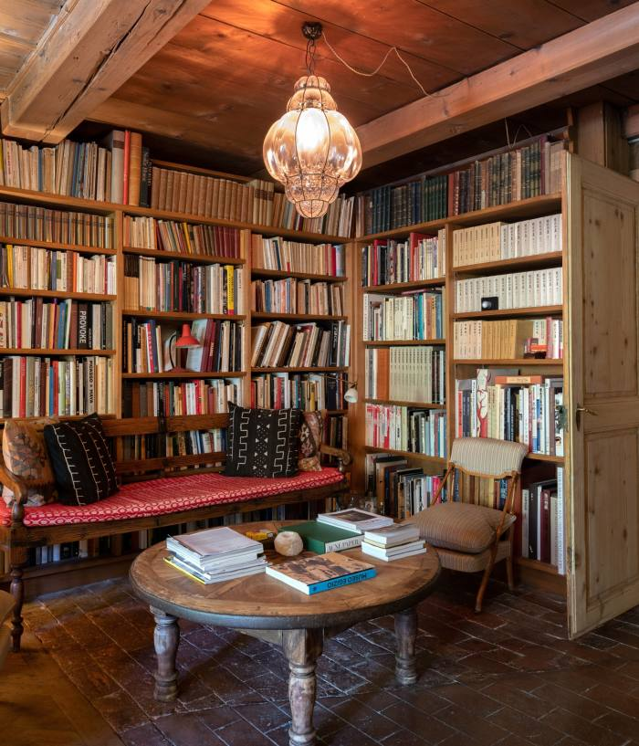 Part of the library, where guests relax after dinner