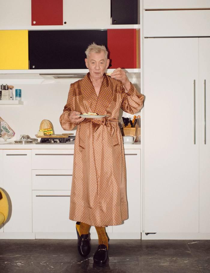 Stokey-Daley fan Sir Ian McKellen wearing one of the designer's silk robes