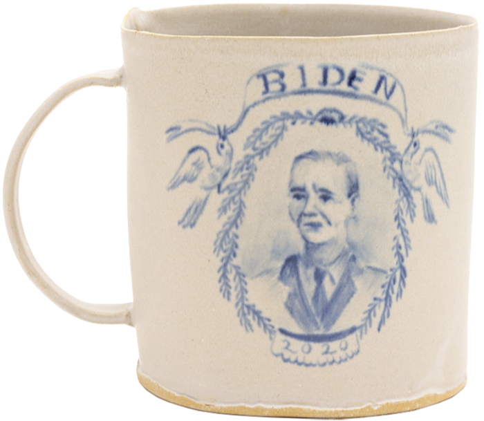 Joe Biden mug by BDDW Ceramics, a New York-based company credited with introducing the Delft aesthetic to millennialsl