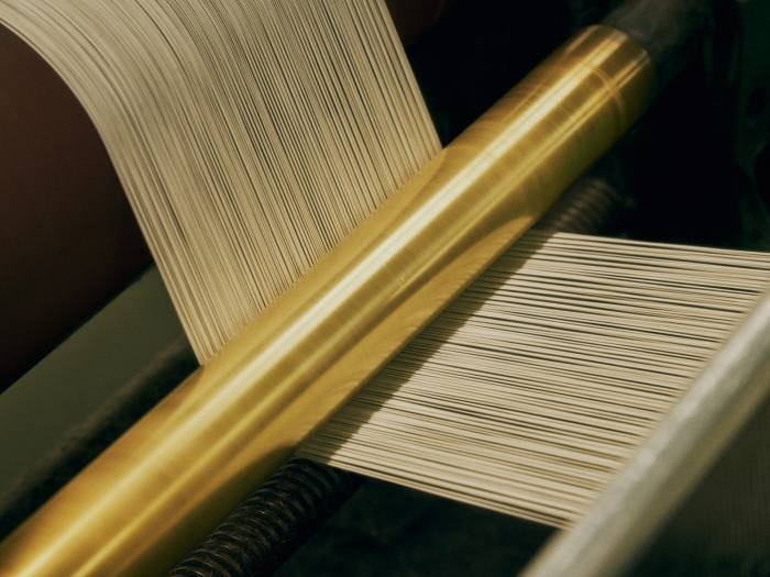 Begg x Co's Hattersley Section Warp machine, which lays the cashmere yarn together across the beam