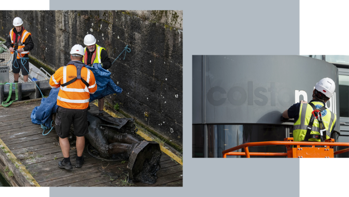 A salvage team in Bristol harbour retrieves the statue of slave trader Edward Colston in June 2020; inset, the Bristol music venue is renamed 'Bristol Beacon' from 'Colston Hall'