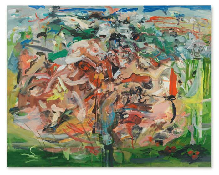 An abstract painting with many light, thin, overlapping brushstrokes on a greenish background
