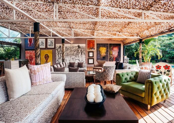 The deck at Eden, with artworks byTonio Trzebinski