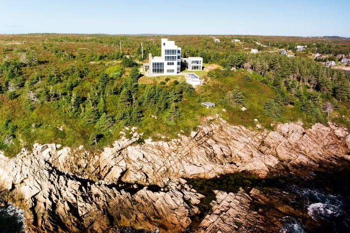 A modernist clifftop house in Nova Scotia with a guide price of £2,214,496 through Coldwell Banker Supercity Realty