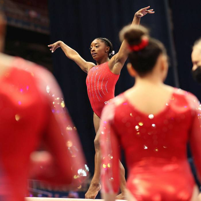 Simone Biles warms up prior to the women's competition of the 2021 US Gymnastics Olympic Trials in St Louis, Missouri last month