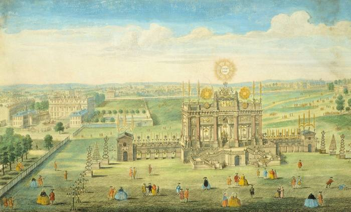 The 'Temple of Peace', built in the park in 1749 as the launchpad for a massive firework display (for which Handel wrote 'Music for the Royal Fireworks') – the structure caught fire shortly after the pyrotechnics began