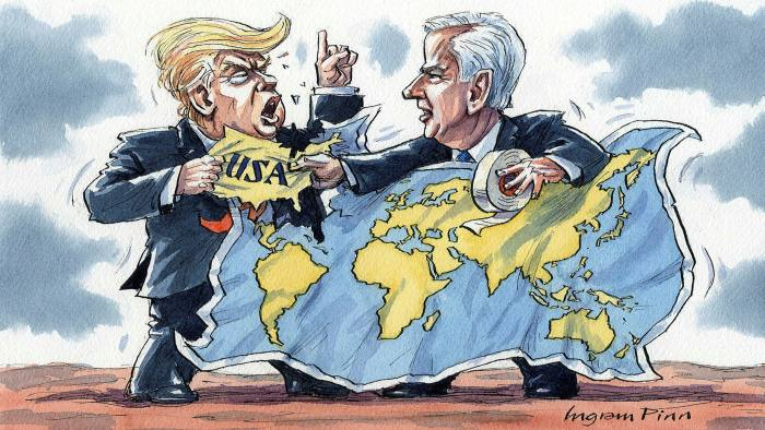 Ingram Pinn illustration of Philip Stephens column 'An election to decide America's place in the world'