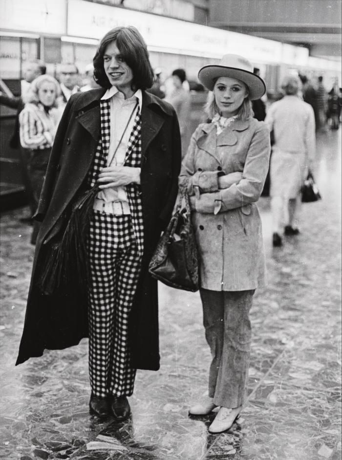 Mick Jagger and Marianne Faithfull ata London airport, July 1969