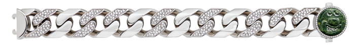 Dior and Kenny Scharf crystal-detail silver-finish brass and jade Large Links bracelet, £920