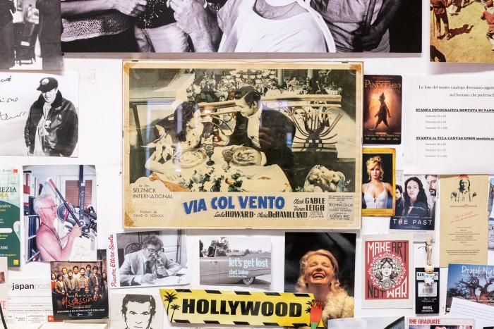 Movie memorabilia covers the walls