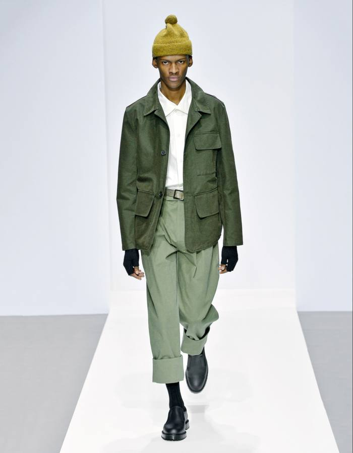 A workwear-inspired look from Margaret Howell's current collection