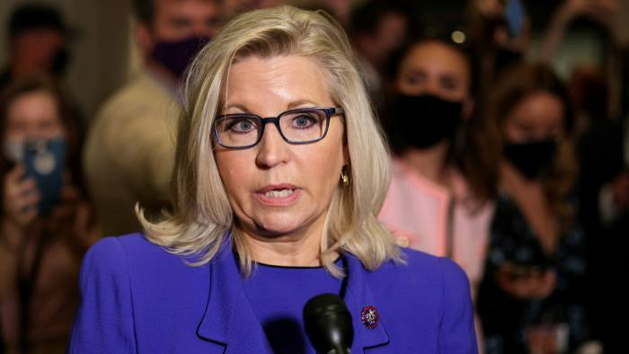 Liz Cheney speaks to reporters on Capitol Hill on Wednesday