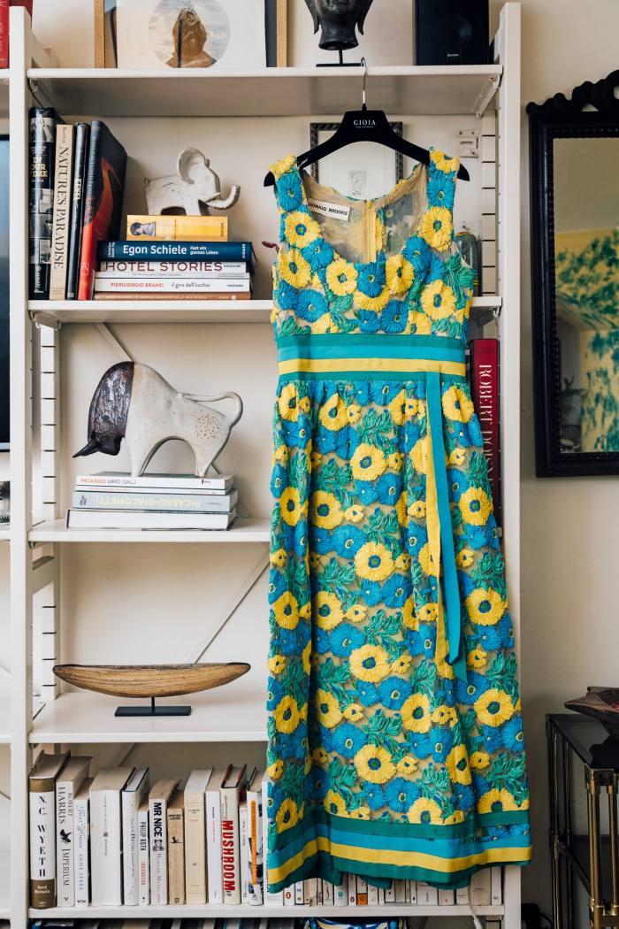 A vintage Donald Brooks raffia dress