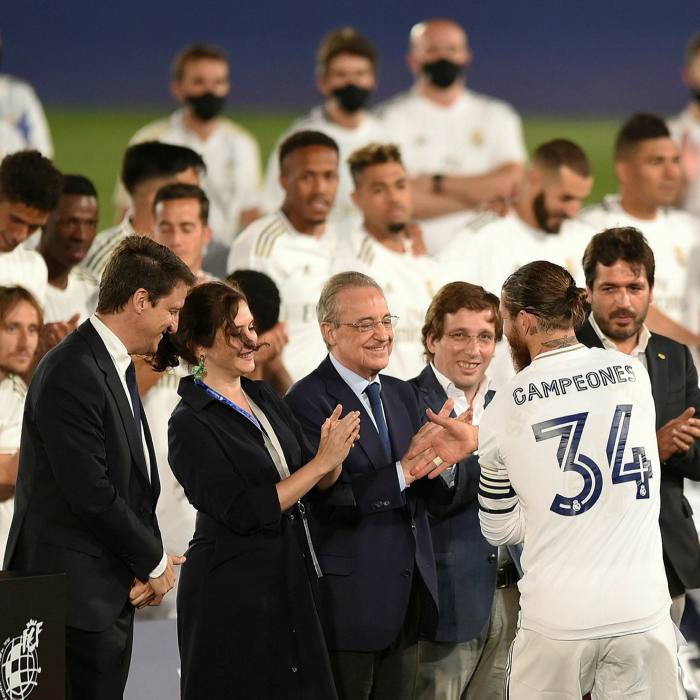 Captain Sergio Ramos of Real Madrid shakes hands with club president Florentino Perez, the true mastermind of the super league