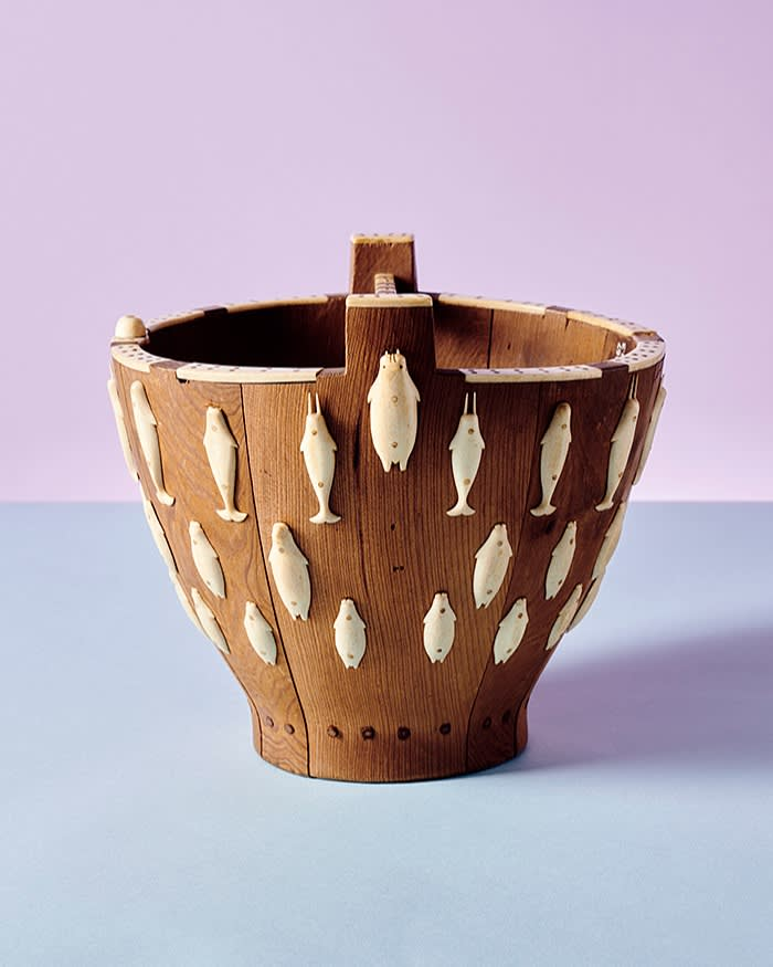 Eskimo-Aleut wooden pail decorated with ivory or bone figures of fish and walruses; Angmagssalik, East Greenland. 1884