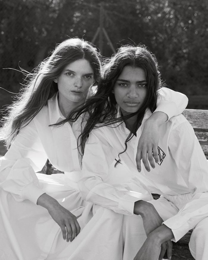 From left: Primrose wears Alexander McQueen poplin dress, £1,790. Scarlett wears Polo Ralph Lauren cotton shirt, £139. Alex Eagle Sporting Club recycled cotton joggers, POA
