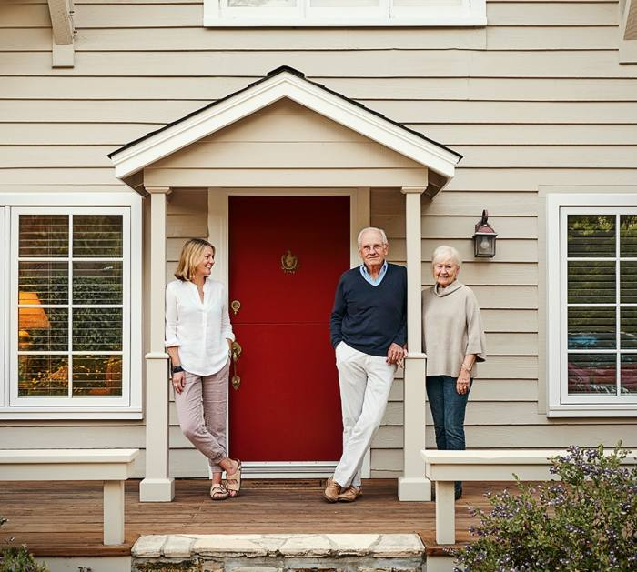 Maria with her parents at their house in Carmel, California