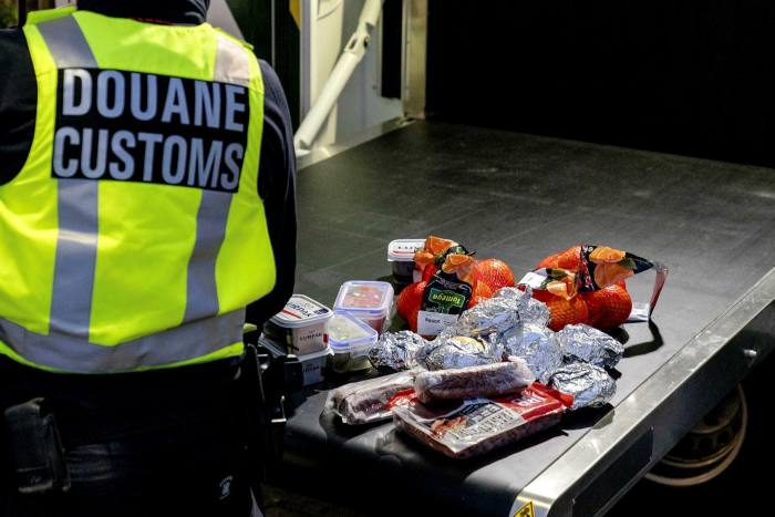 Goods confiscated by Dutch customs officers from ferry passengers arriving in the EU from the UK
