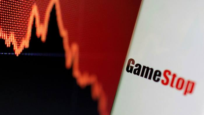GameStop logo is seen near displayed stock graph in this illustration