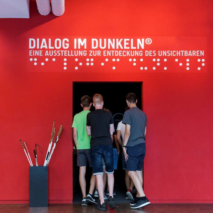 The entrance to the Dialog Museum's 'Dialogue in the Dark' exhibition
