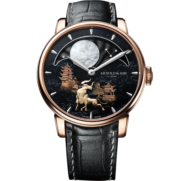 Arnold & Son Perpetual Moon Year of the Ox: haematite dial with 18ct yellow-gold ox in relief and 18ct red-gold case, £49,700. Limited edition of eight