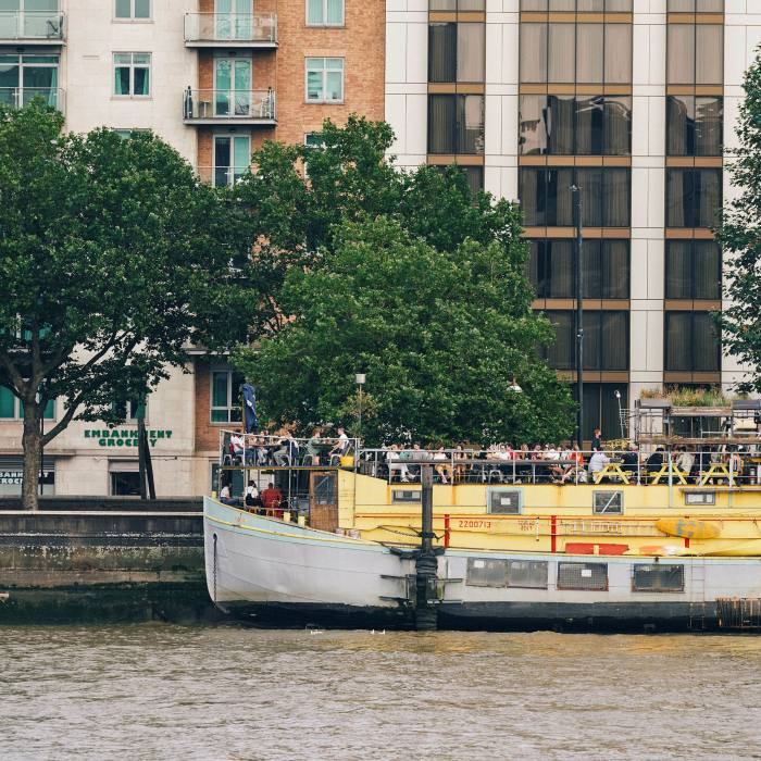 The Tamesis Dock is moored on Vauxhall's Albert Embankment