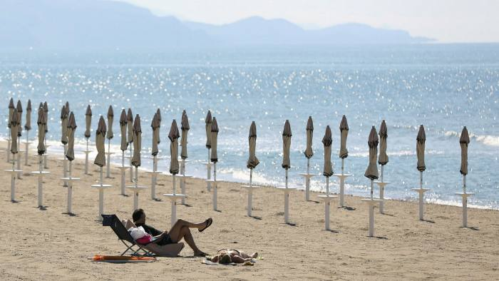 The beach at Terracina, Italy. Coronavirus-related lockdowns have dealt a heavy blow to Europe's tourism industry