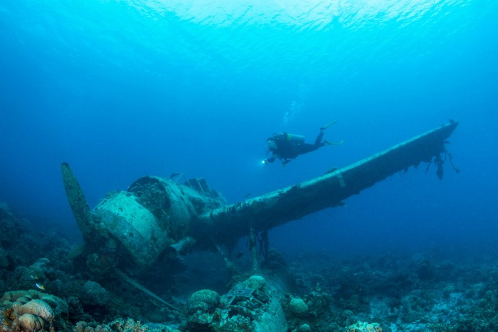 A Japanese seaplane from the second world war is one of the most intact wrecks in Micronesia, at a depth of 15 metres