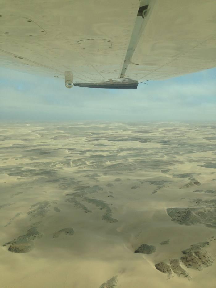 Flying into Skeleton Coast, Namibia