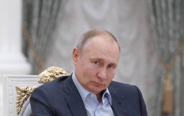 Putin forever: The Russian leader accused foreign powers of sowing discord in Russia at a meeting last month