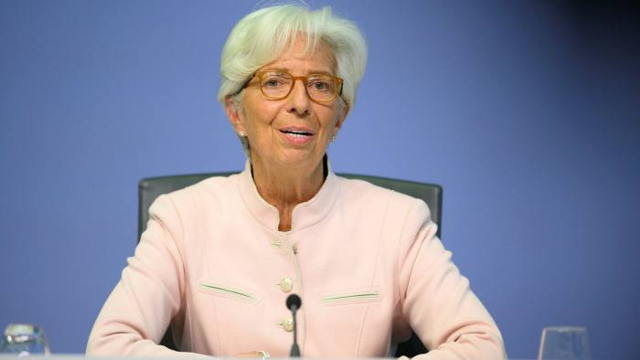 ECB president Christine Lagarde during the ECB press conference in Frankfurt, Germany, last week.