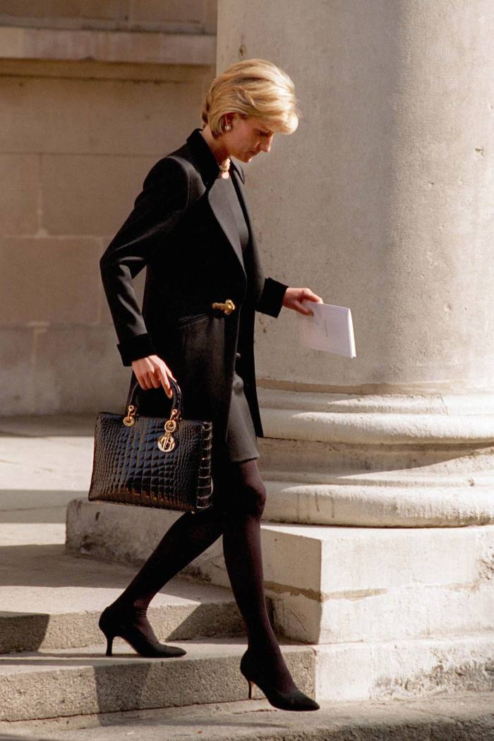 Diana, Princess of Wales, carrying a Lady Dior bag at the memorial service of photographer Terence Donovan, March 1997