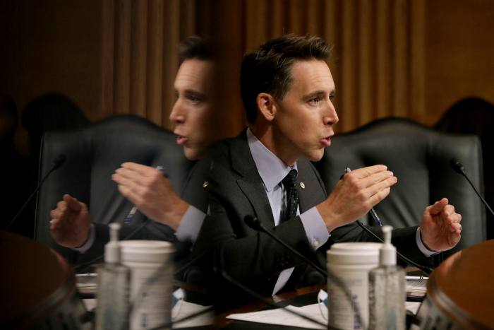 Senator Josh Hawley questions witnesses at a hearing into Google's online advertising. The Department of Justice complaint acts as the first part of a broader legal campaign against both Google and the rest of Big Tech