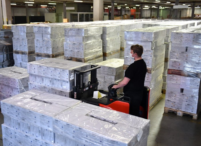 The warehouse of a medical equipment storage facility in Apfelstaedt, Germany, April 3