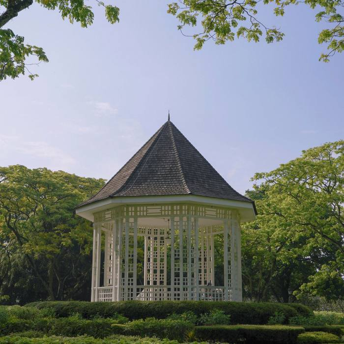 The octagonal bandstand, which was built in 1930