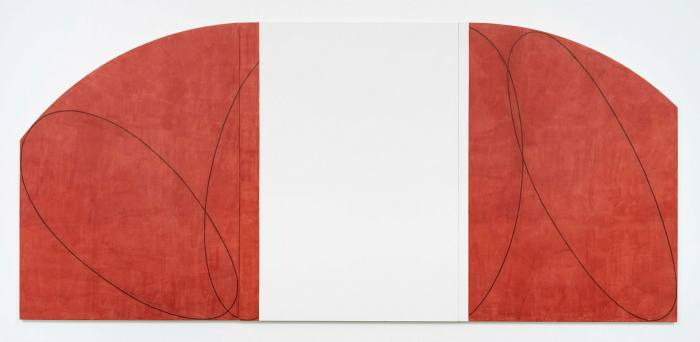 'Red / White Zone Painting II' by Robert Mangold (1996)