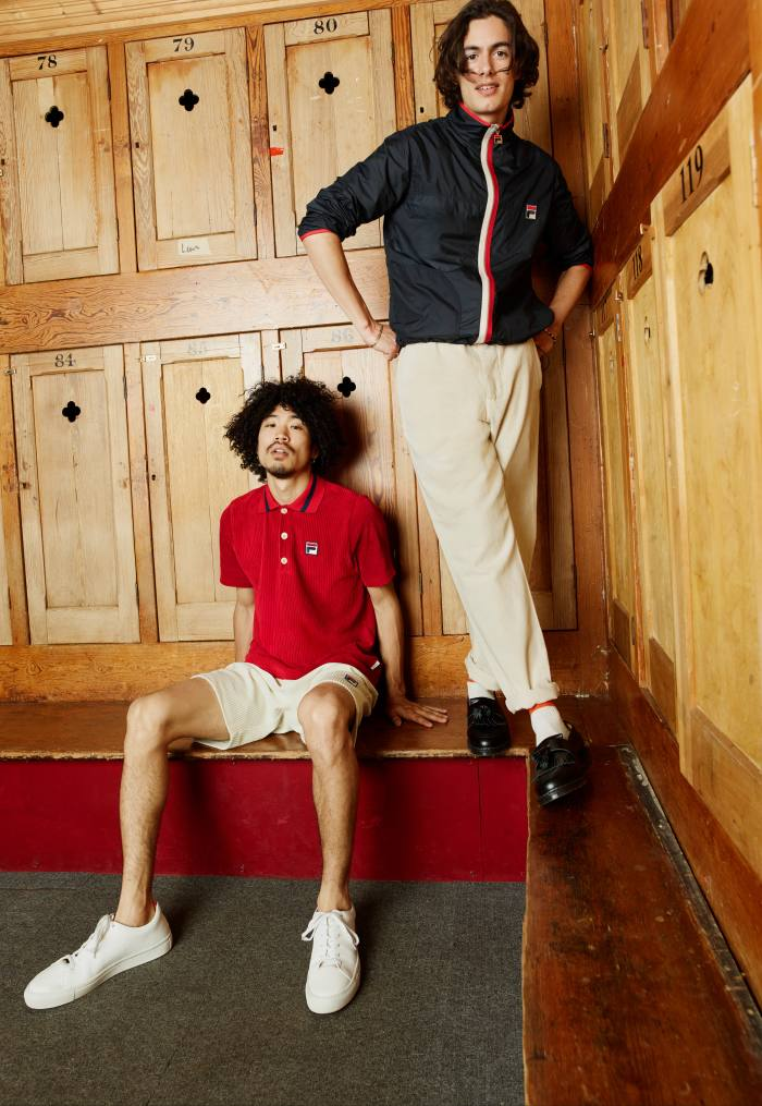 Left: Fila x Oliver Spencer Benedict polo shirt, £129, and Ari jersey shorts, £110. Marton trainers, £189. Right: Fila x Oliver Spencer Pagoda jacket, £259, and drawstring trousers, £149. Solovair tassel loafers, £149