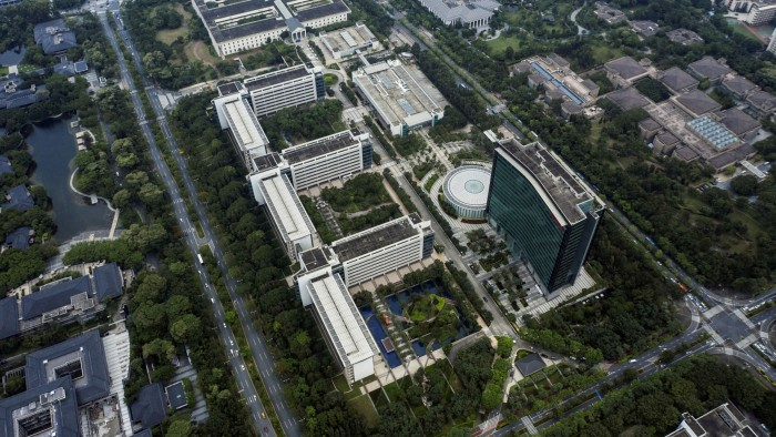 The buildings of Huawei headquarters in Shenzhen, China seen from the air