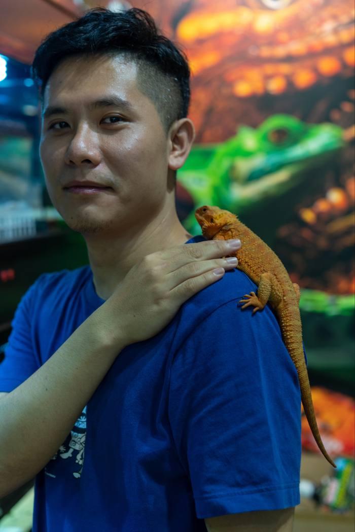 Liu Yiding, owner of a reptile pet shop in Guangzhou