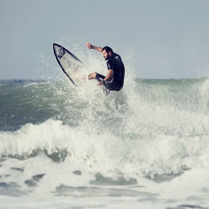 Top Italian surfer Roberto D'Amico at Banzai beach, near Rome