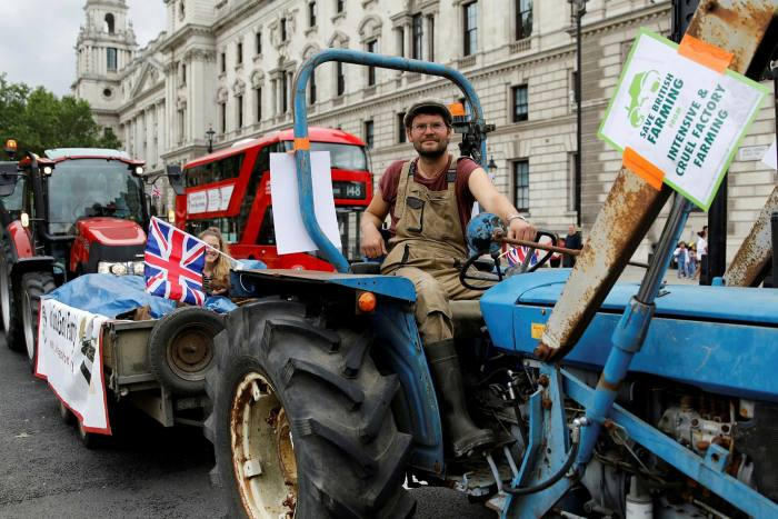 Farmers protest in London against what they see as substandard imports.Michael Gove warned last year that British beef and sheep meat exports could be hit by tariffs of at least 40 per cent