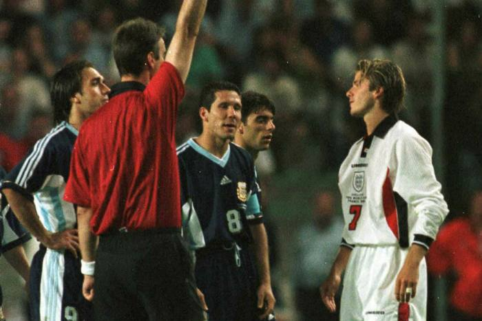 David Beckham is sent off in England's match against Argentina in 1998