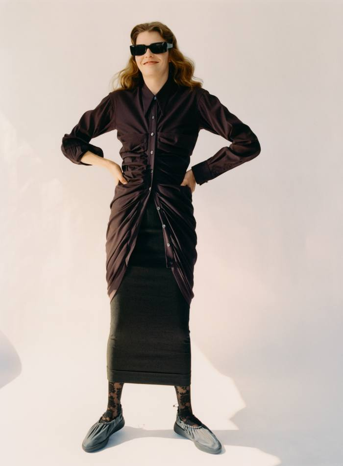 Romeo Gigli cotton shirtdress, $795, and wool skirt, $495, both from Resurrection Los Angeles. Calzedonia lace tights, £13. Issey Miyake rubber Cover shoes, £235. Cutler & Gross acetate 1368 Rectangle sunglasses, £320