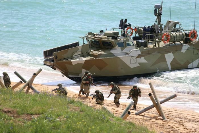 Russian troops landing on a beach