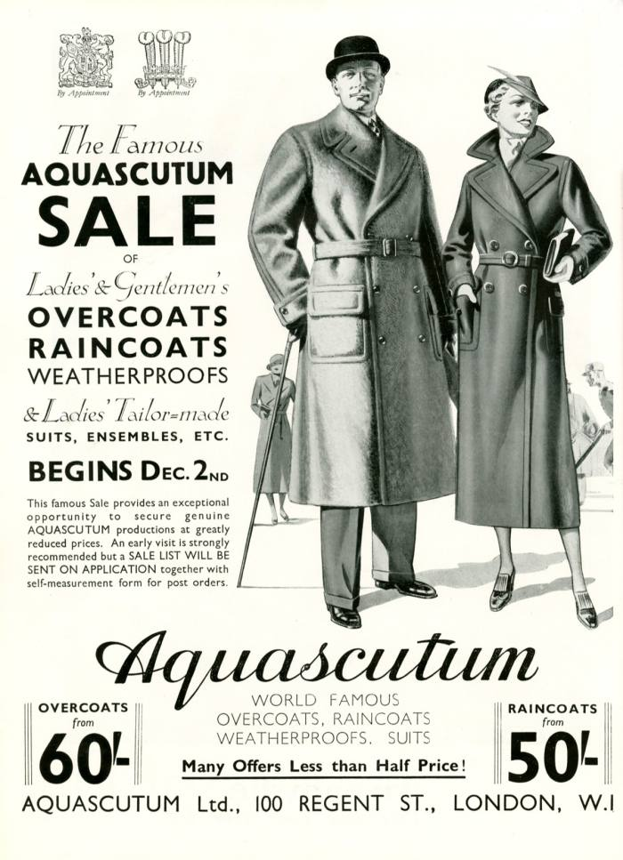 Aquascutum refined its waterproof coat design for British army officers, giving rise to the original trench coat