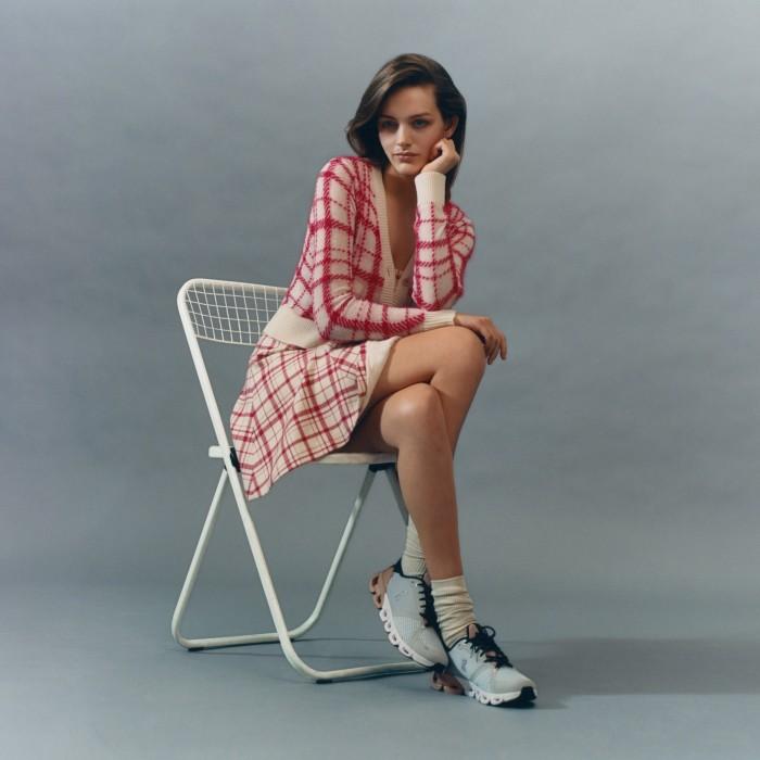 Dior intarsia wool Check'n'Dior Pop cardigan, £1,400, and wool Check'n'Dior Pop dress, £2,800. Muji cotton socks, £3.50. On Running Cloudflyer running shoes, £140. Otiumberg gold vermeil mini chunky twist hoop earrings, £130for a pair