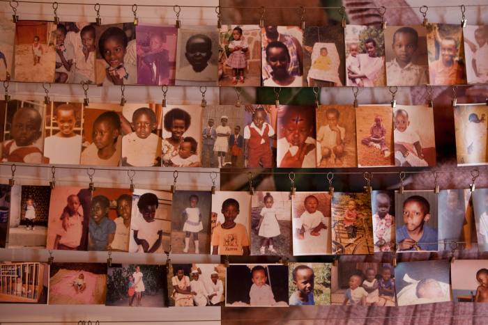 A photo display of genocide victims at the Kigali Memorial Centre. 800,000 ethnic Tutsis and moderate Hutus were killed in 100 days