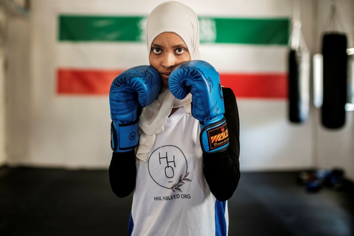 Ayan Mahamed, kickboxing champion and computer scientist: 'There's a really fine line [between a liberal or more conservative Somaliland] and I feel we are at an inflection point' © André Khalil/FT