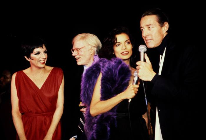 Halston (right) with Liza Minnelli, Andy Warhol and Bianca Jagger in New York in the 1970s