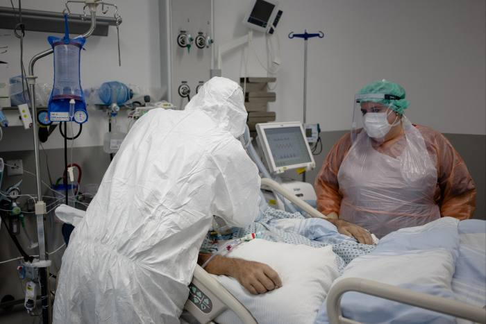 Senior physician Katharina Lenherr (right) at an intensive care unit at Rosenheim hospital. 'When the first patient died, it was one of my most emotional moments,' she says